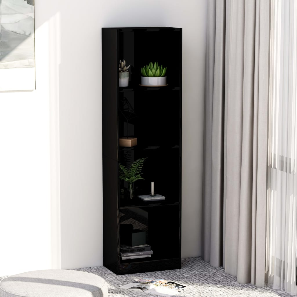 4-Tier Book Cabinet High Gloss Black 40x24x142 cm Chipboard