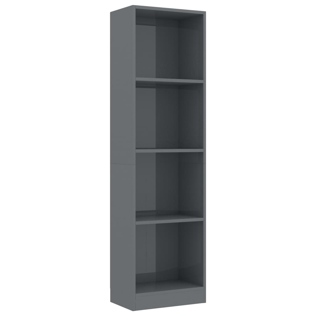4-Tier Book Cabinet High Gloss Grey 40x24x142 cm Chipboard 2