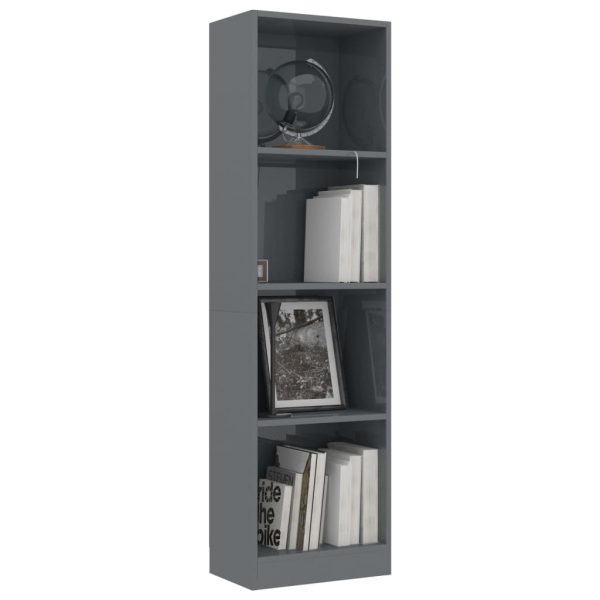 4-Tier Book Cabinet High Gloss Grey 40x24x142 cm Chipboard 3