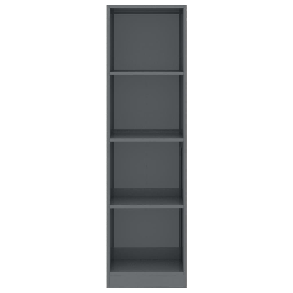 4-Tier Book Cabinet High Gloss Grey 40x24x142 cm Chipboard 4