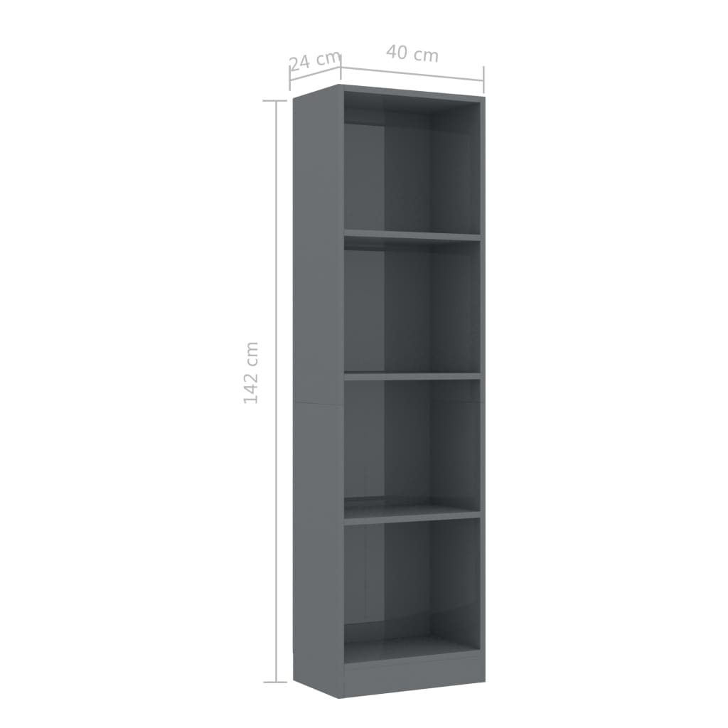 4-Tier Book Cabinet High Gloss Grey 40x24x142 cm Chipboard 6