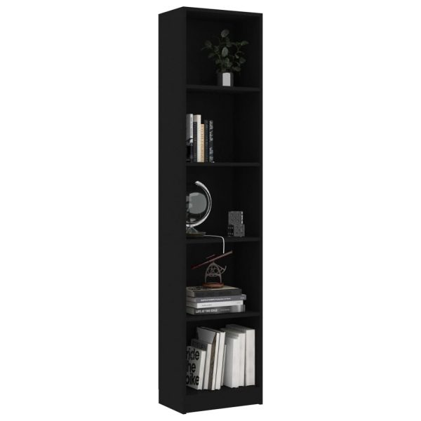 5-Tier Book Cabinet Black 40x24x175 cm Chipboard 3