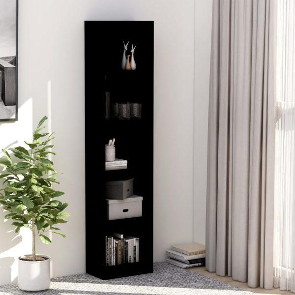 5-Tier Book Cabinet Black 40x24x175 cm Chipboard 1
