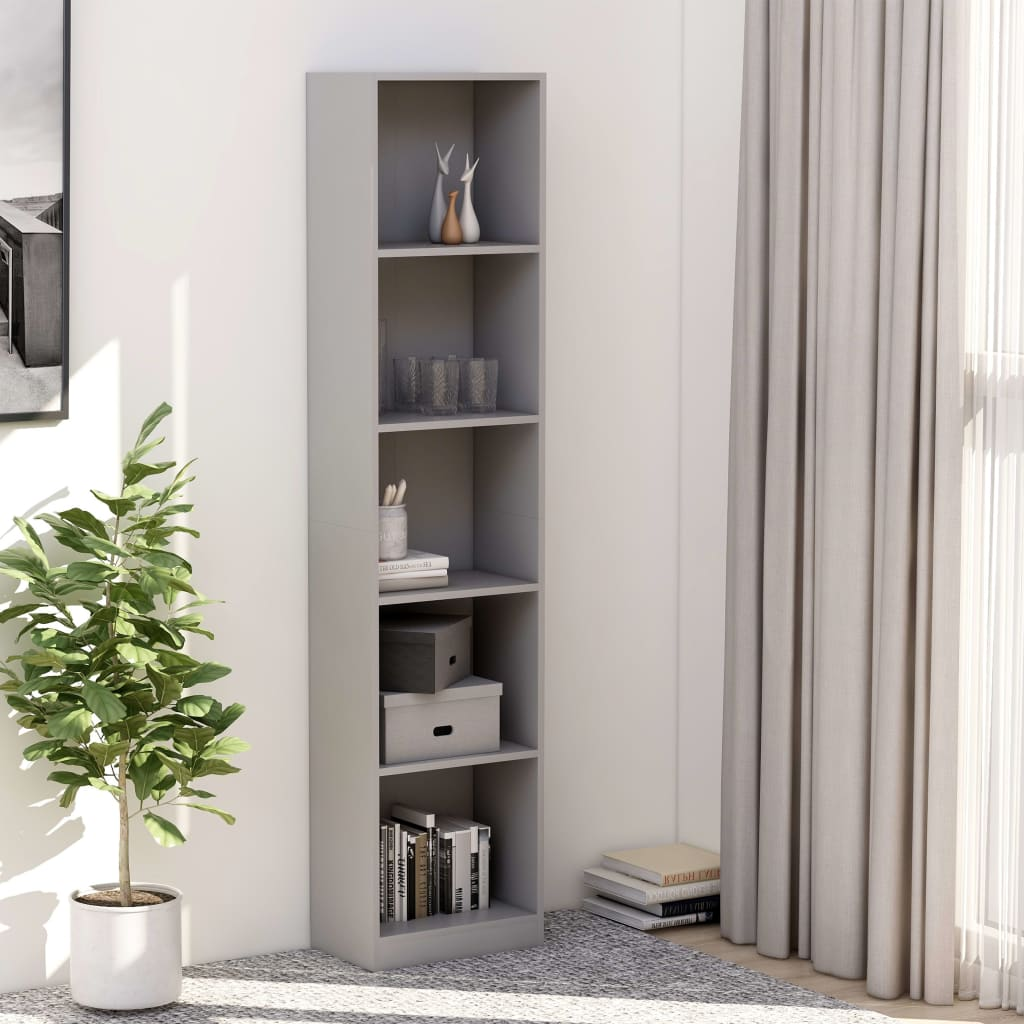5-Tier Book Cabinet Grey 40x24x175 cm Chipboard