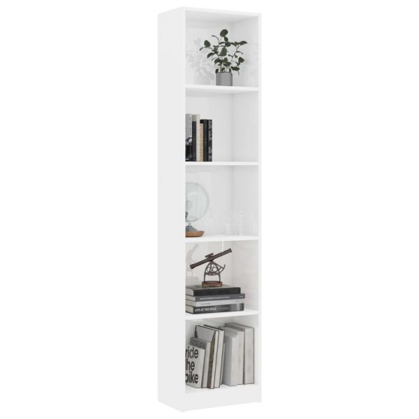 5-Tier Book Cabinet High Gloss White 40x24x175 cm Chipboard 3