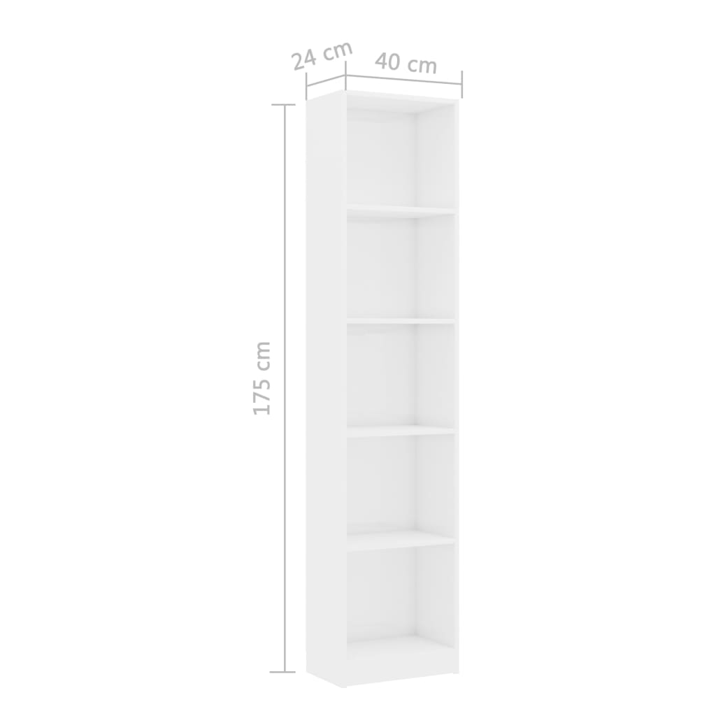 5-Tier Book Cabinet High Gloss White 40x24x175 cm Chipboard 6