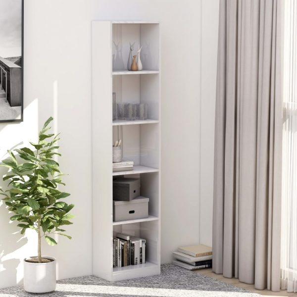 5-Tier Book Cabinet High Gloss White 40x24x175 cm Chipboard 1