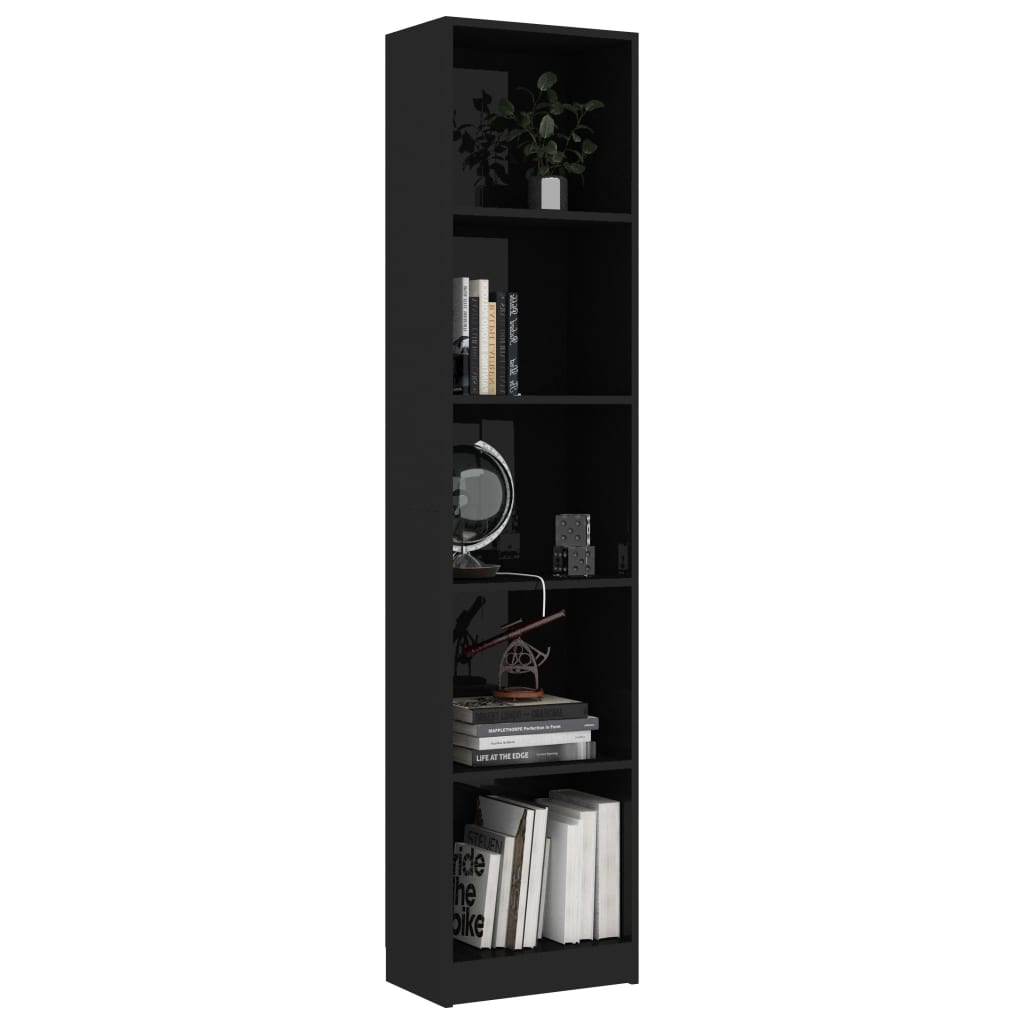 5-Tier Book Cabinet High Gloss Black 40x24x175 cm Chipboard 3