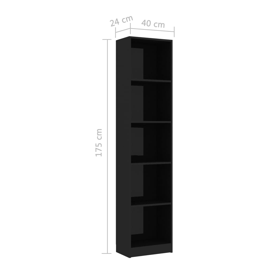 5-Tier Book Cabinet High Gloss Black 40x24x175 cm Chipboard 6