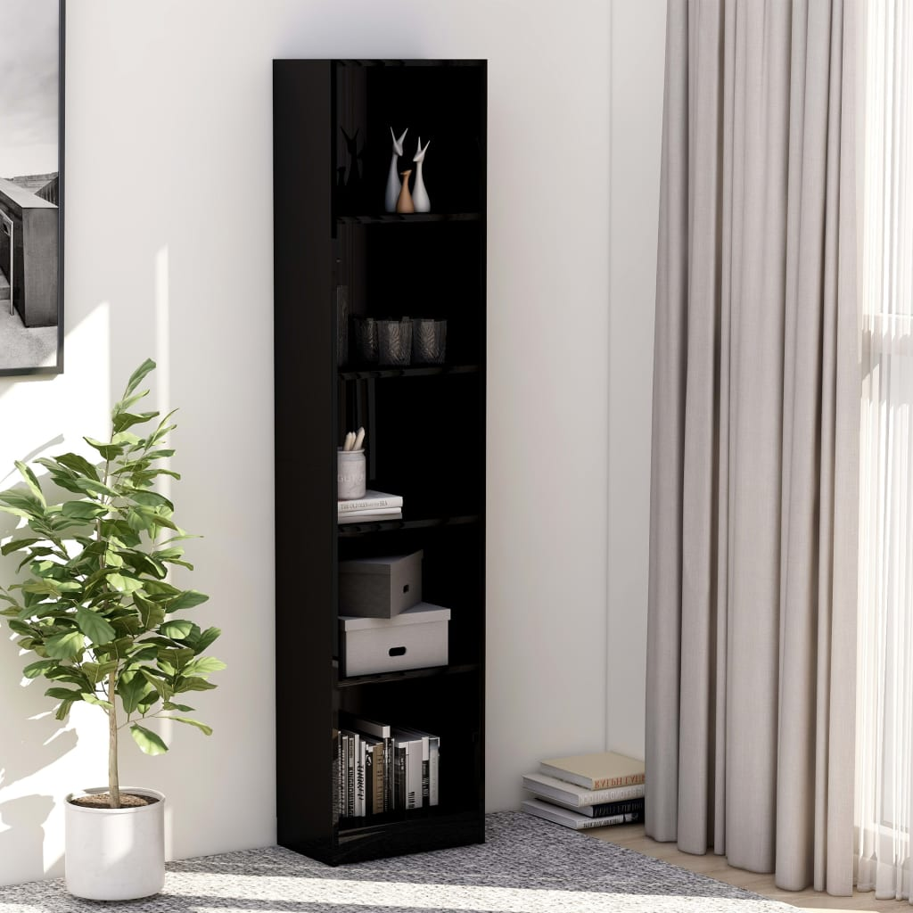 5-Tier Book Cabinet High Gloss Black 40x24x175 cm Chipboard 1