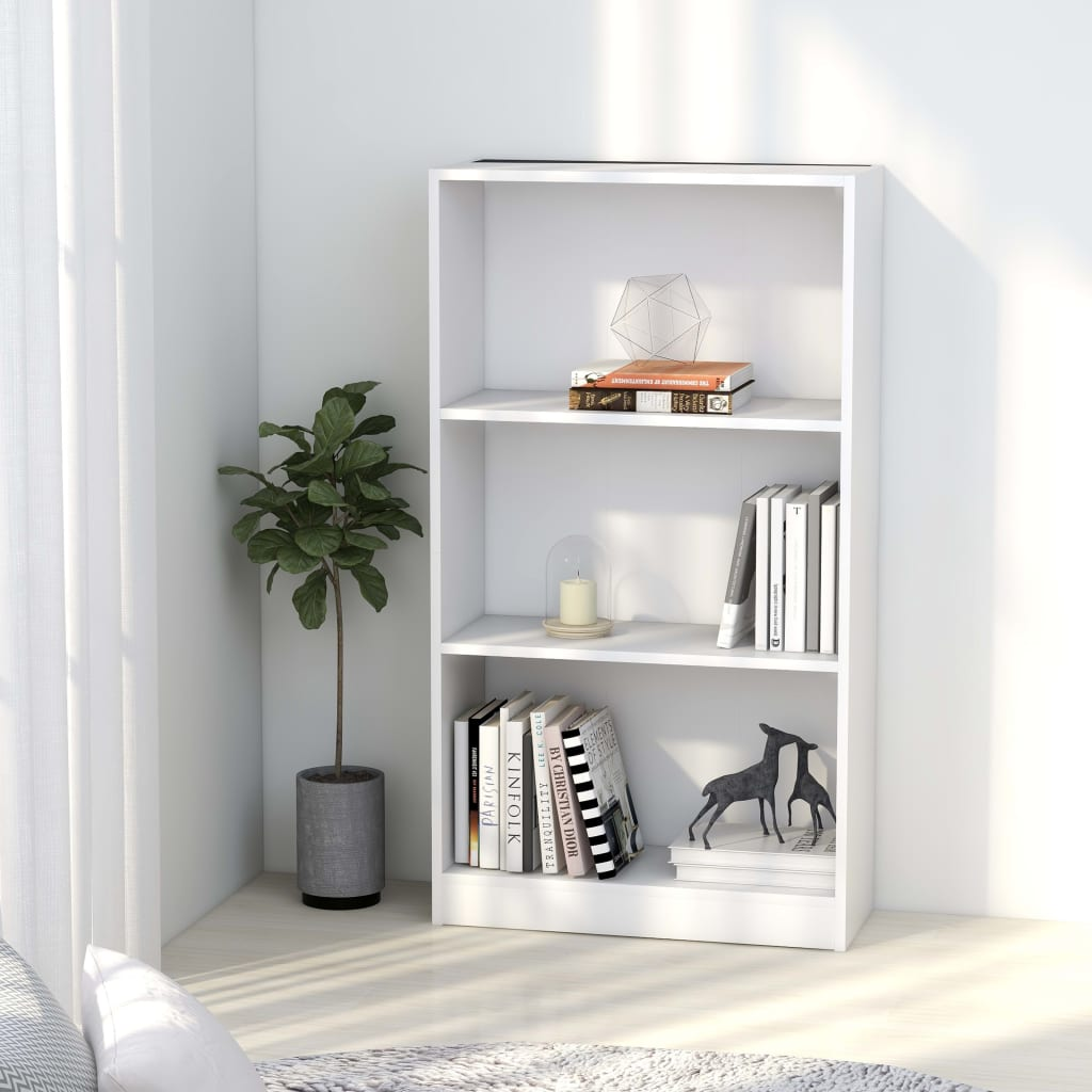 3-Tier Book Cabinet White 60x24x108 cm Chipboard