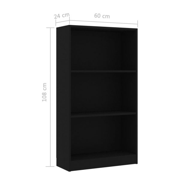 3-Tier Book Cabinet Black 60x24x108 cm Chipboard 6