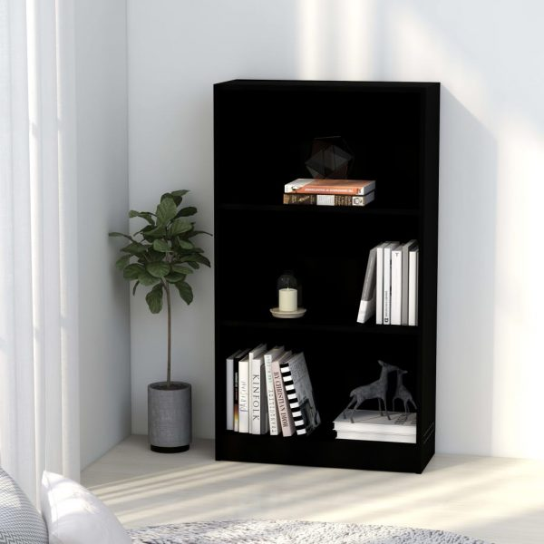 3-Tier Book Cabinet Black 60x24x108 cm Chipboard 1