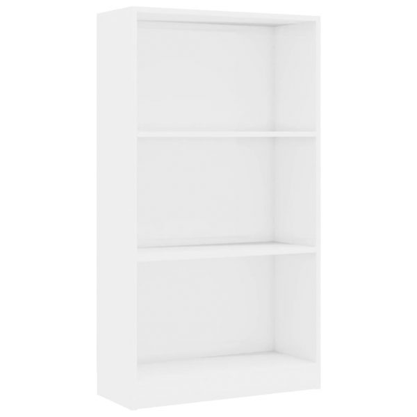 3-Tier Book Cabinet High Gloss White 60x24x108 cm Chipboard 2