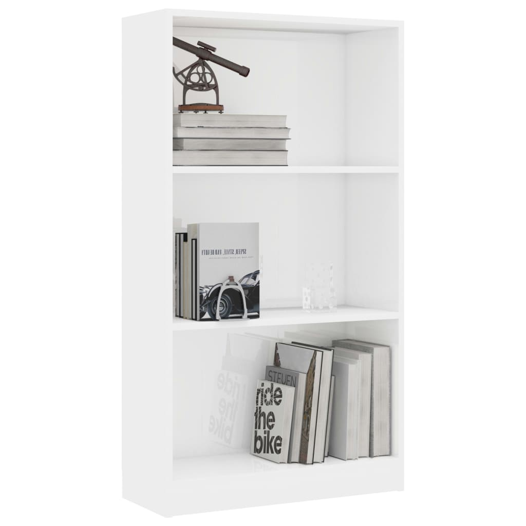 3-Tier Book Cabinet High Gloss White 60x24x108 cm Chipboard 3