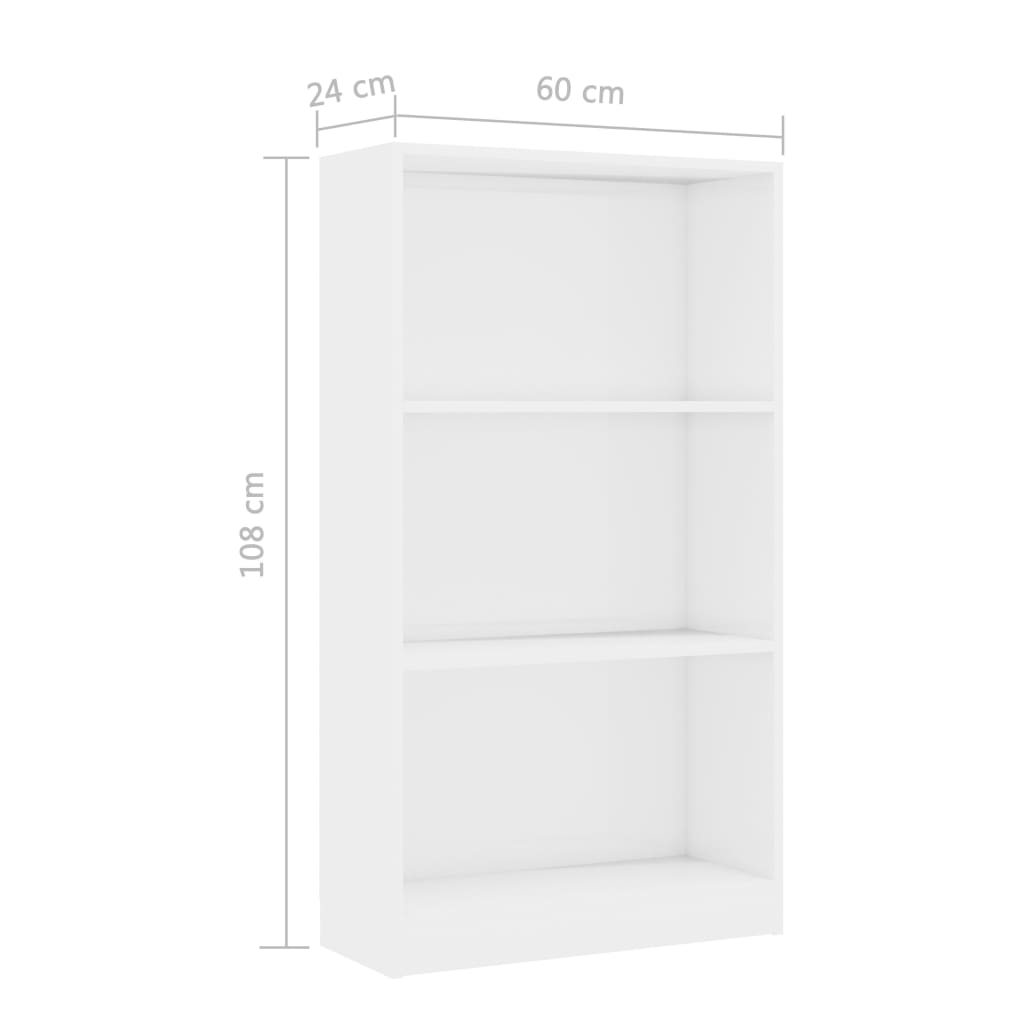3-Tier Book Cabinet High Gloss White 60x24x108 cm Chipboard 6
