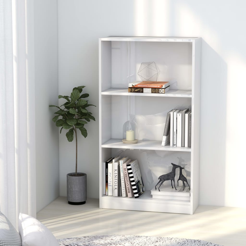 3-Tier Book Cabinet High Gloss White 60x24x108 cm Chipboard 1