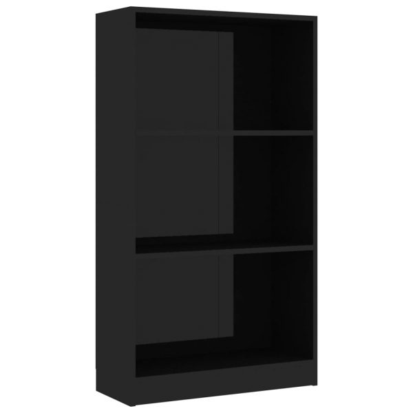 3-Tier Book Cabinet High Gloss Black 60x24x108 cm Chipboard 2