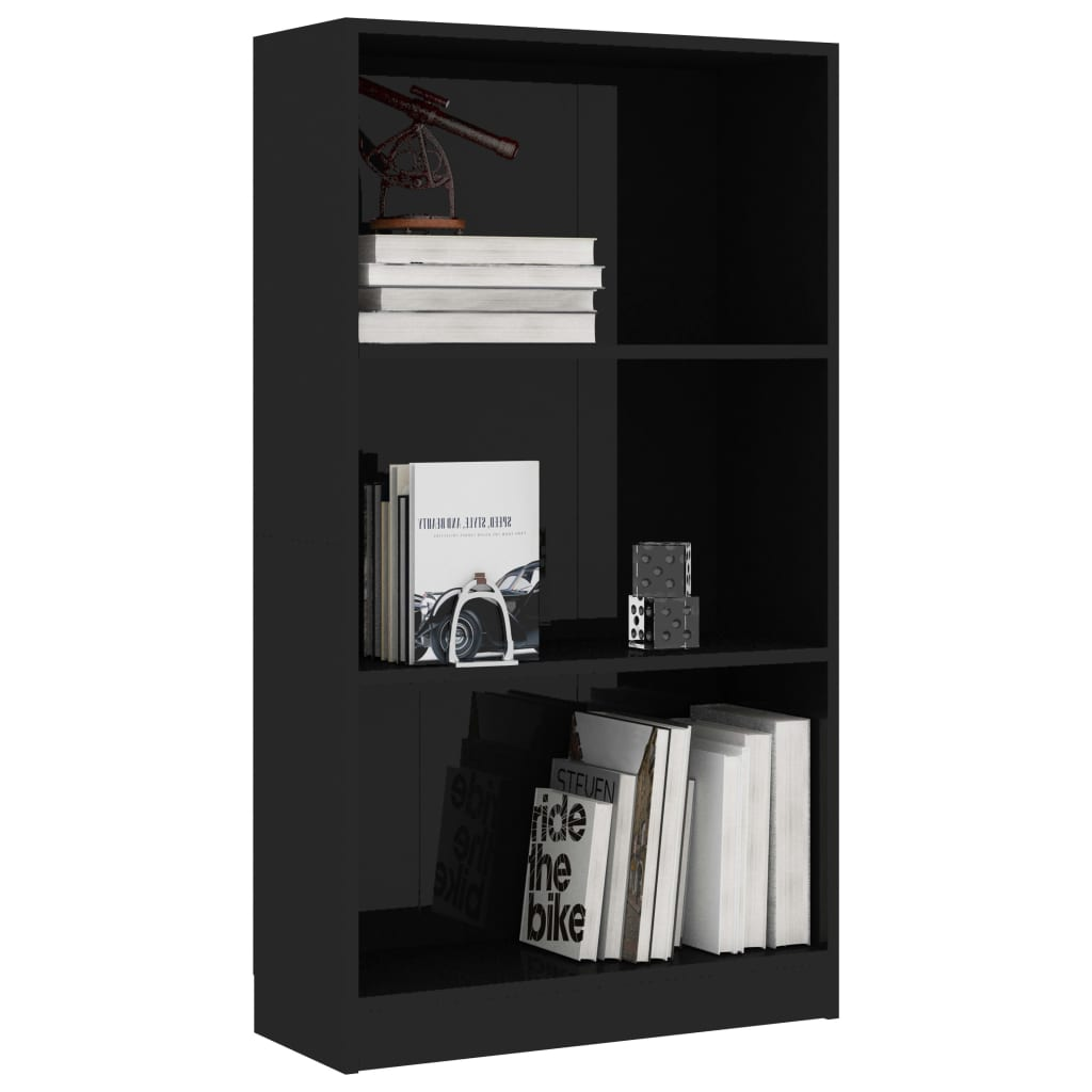 3-Tier Book Cabinet High Gloss Black 60x24x108 cm Chipboard 3
