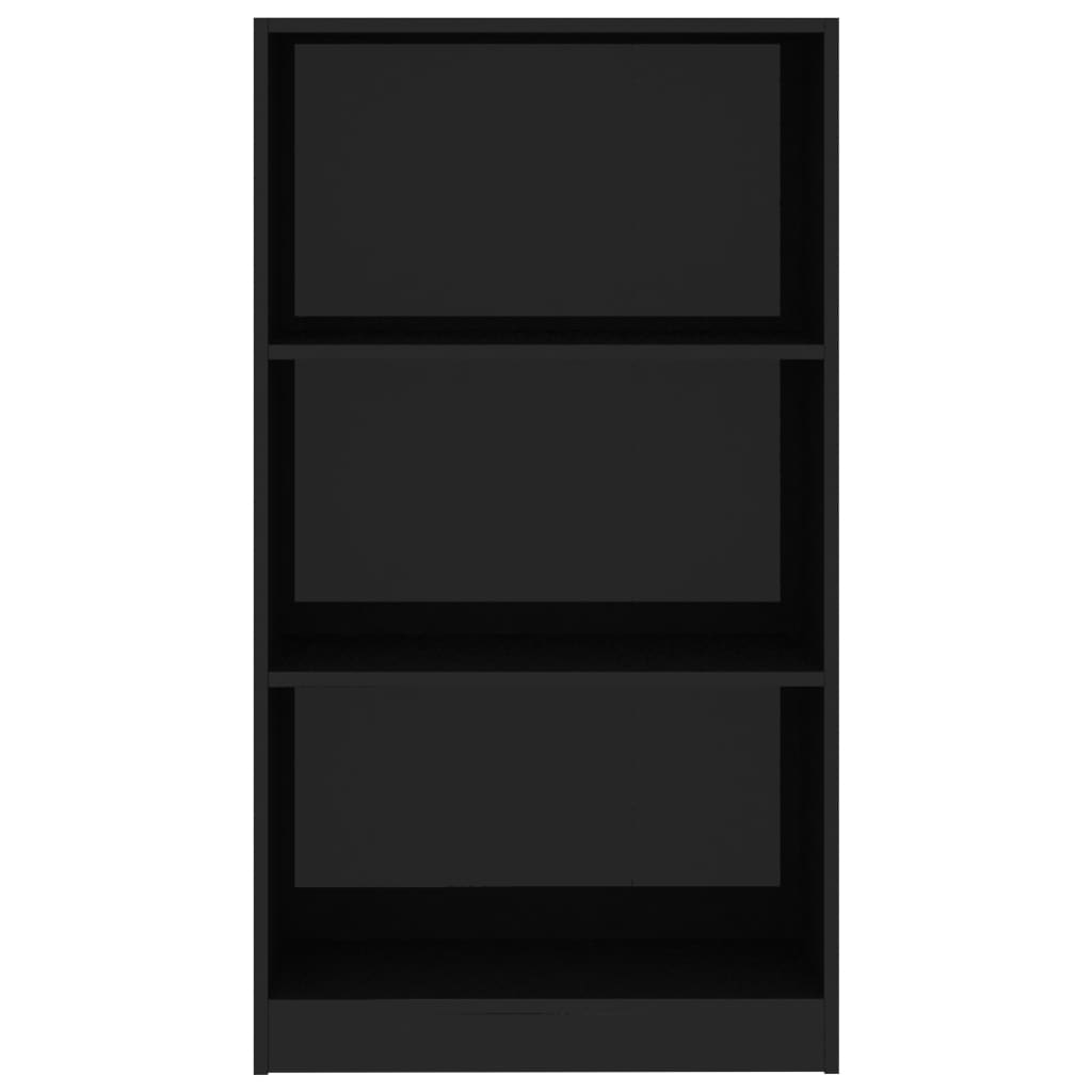 3-Tier Book Cabinet High Gloss Black 60x24x108 cm Chipboard 4