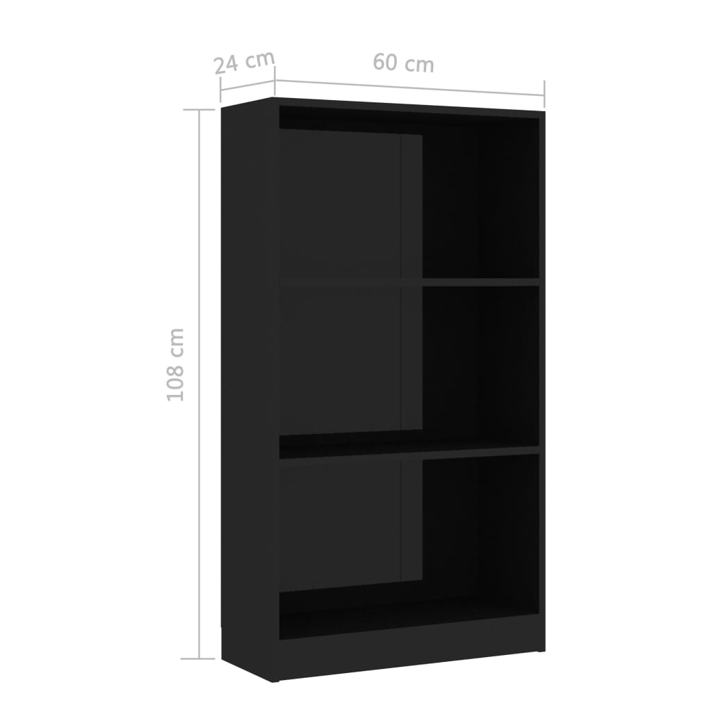 3-Tier Book Cabinet High Gloss Black 60x24x108 cm Chipboard 6