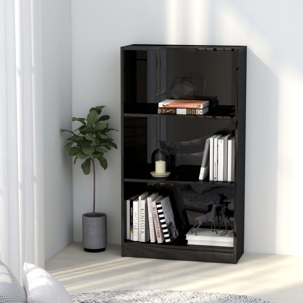3-Tier Book Cabinet High Gloss Black 60x24x108 cm Chipboard