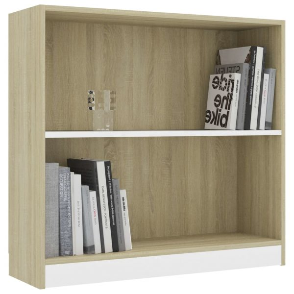 Bookshelf White and Sonoma Oak 80x24x75 cm Chipboard 3