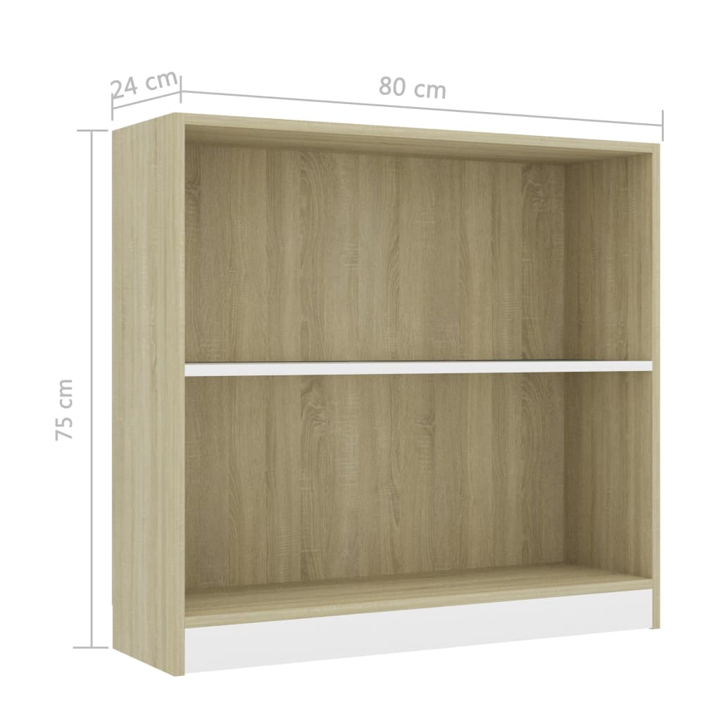 Bookshelf White and Sonoma Oak 80x24x75 cm Chipboard 6