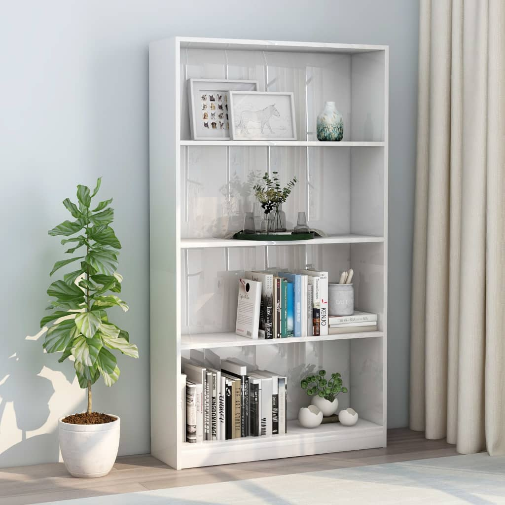 4-Tier Book Cabinet High Gloss White 80x24x142 cm Chipboard