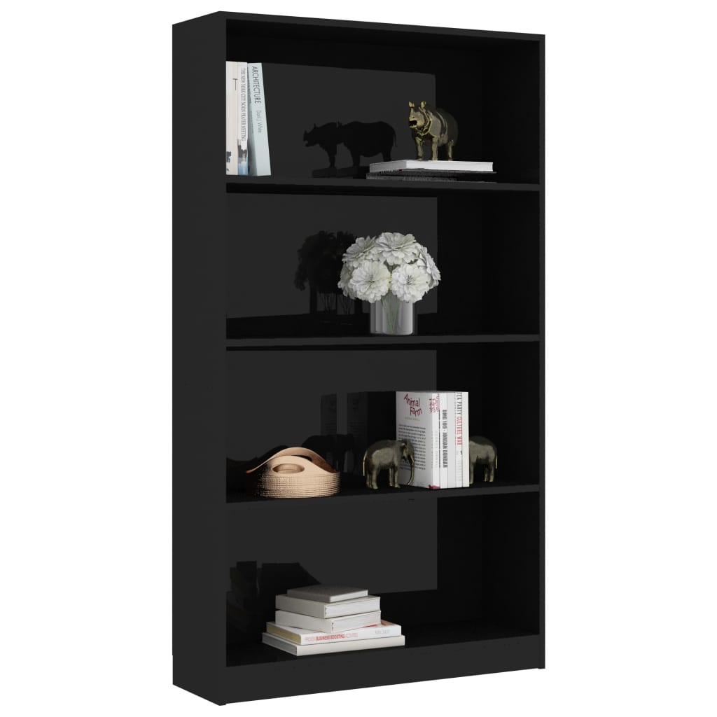 4-Tier Book Cabinet High Gloss Black 80x24x142 cm Chipboard 3