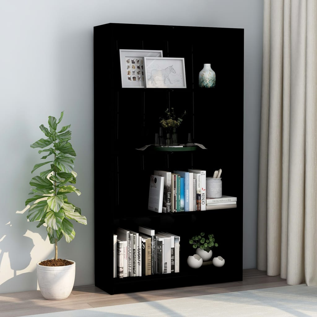 4-Tier Book Cabinet High Gloss Black 80x24x142 cm Chipboard 1