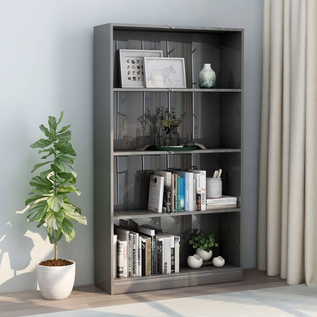 4-Tier Book Cabinet High Gloss Grey 80x24x142 cm Chipboard