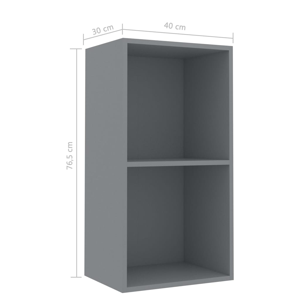 2-Tier Book Cabinet Grey 40x30x76