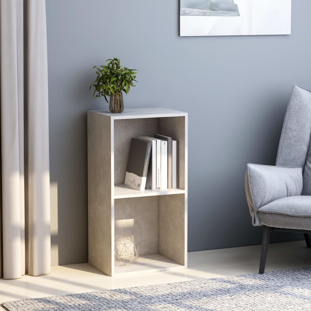 2-Tier Book Cabinet Concrete Grey 40x30x76.5 cm Chipboard