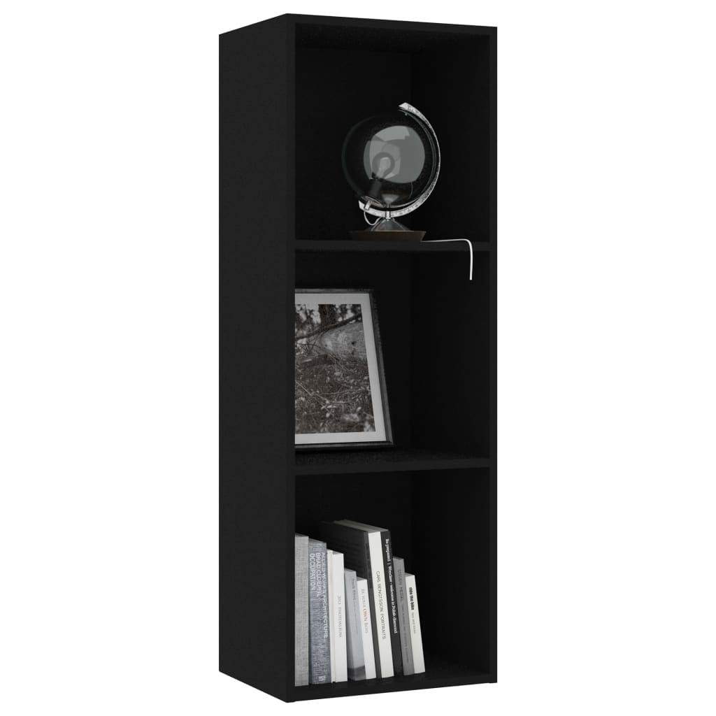 3-Tier Book Cabinet Black 40x30x114 cm Chipboard 3