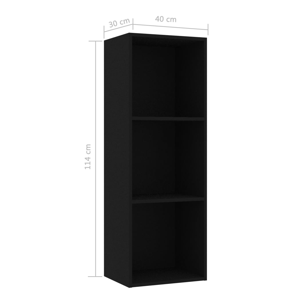 3-Tier Book Cabinet Black 40x30x114 cm Chipboard 6