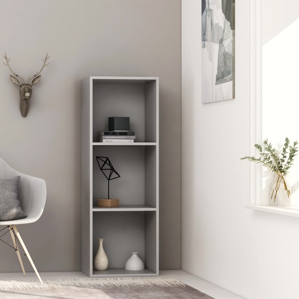 3-Tier Book Cabinet Grey 40x30x114 cm Chipboard