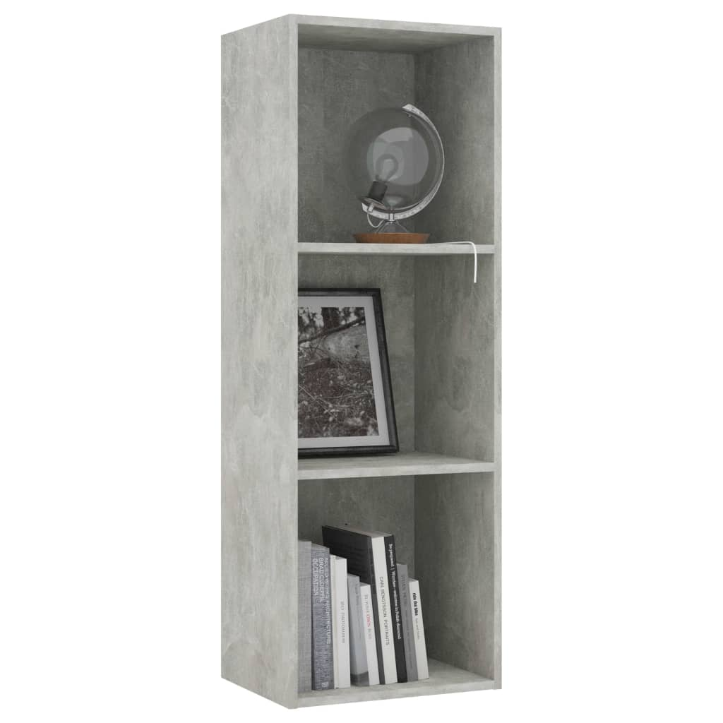 3-Tier Book Cabinet Concrete Grey 40x30x114 cm Chipboard 3