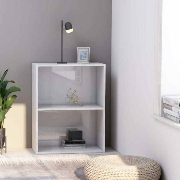 2-Tier Book Cabinet High Gloss White 60x30x76