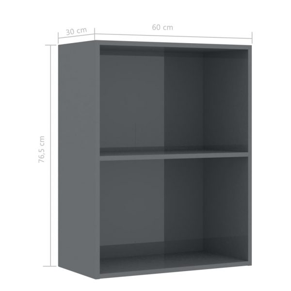 2-Tier Book Cabinet High Gloss Grey 60x30x76