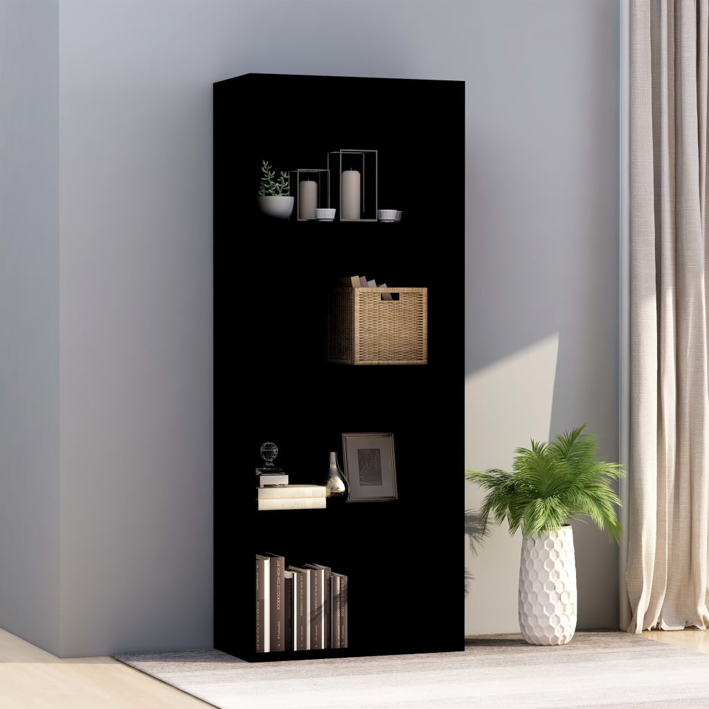 4-Tier Book Cabinet Black 60x30x151.5 cm Chipboard