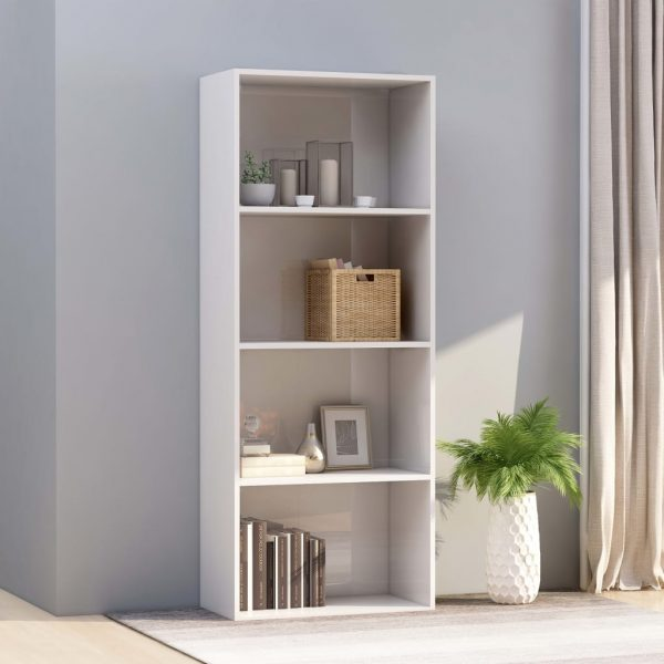 4-Tier Book Cabinet High Gloss White 60x30x151