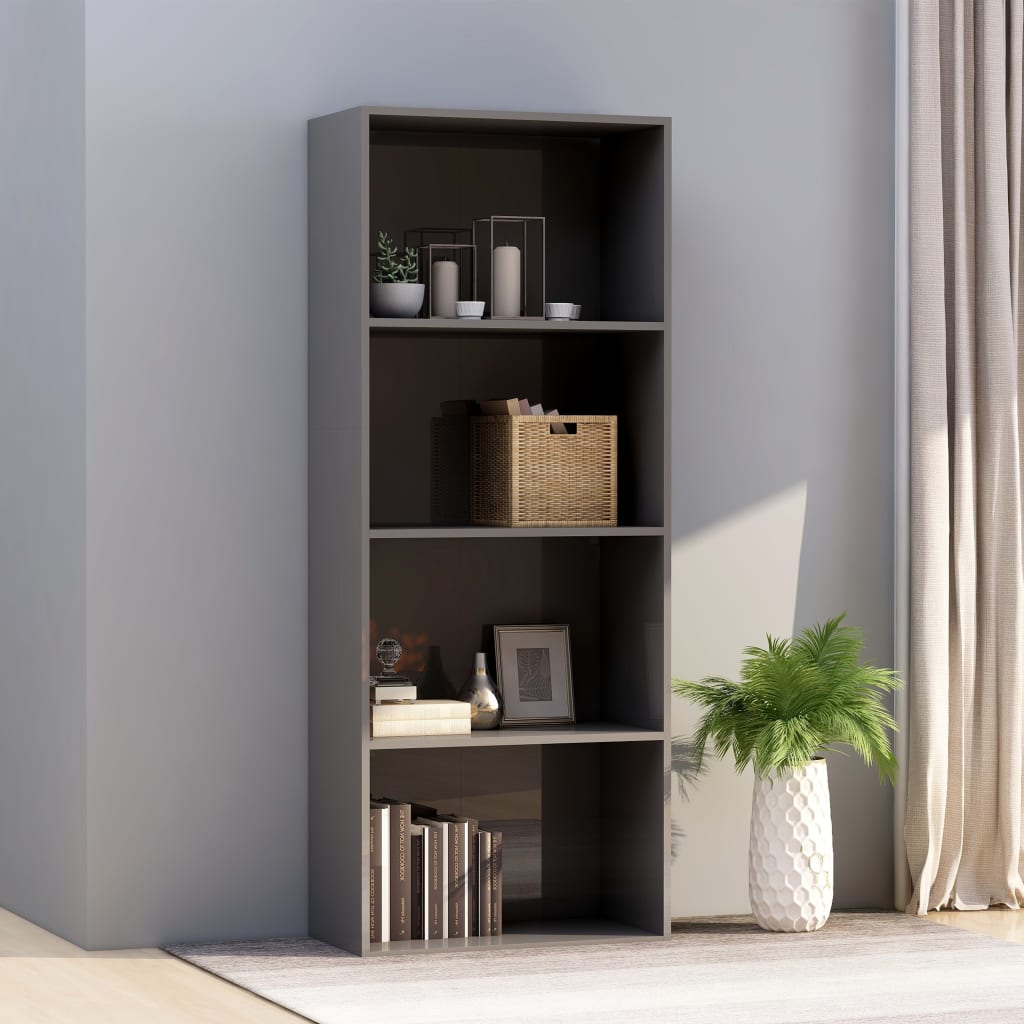 4-Tier Book Cabinet High Gloss Grey 60x30x151.5 cm Chipboard