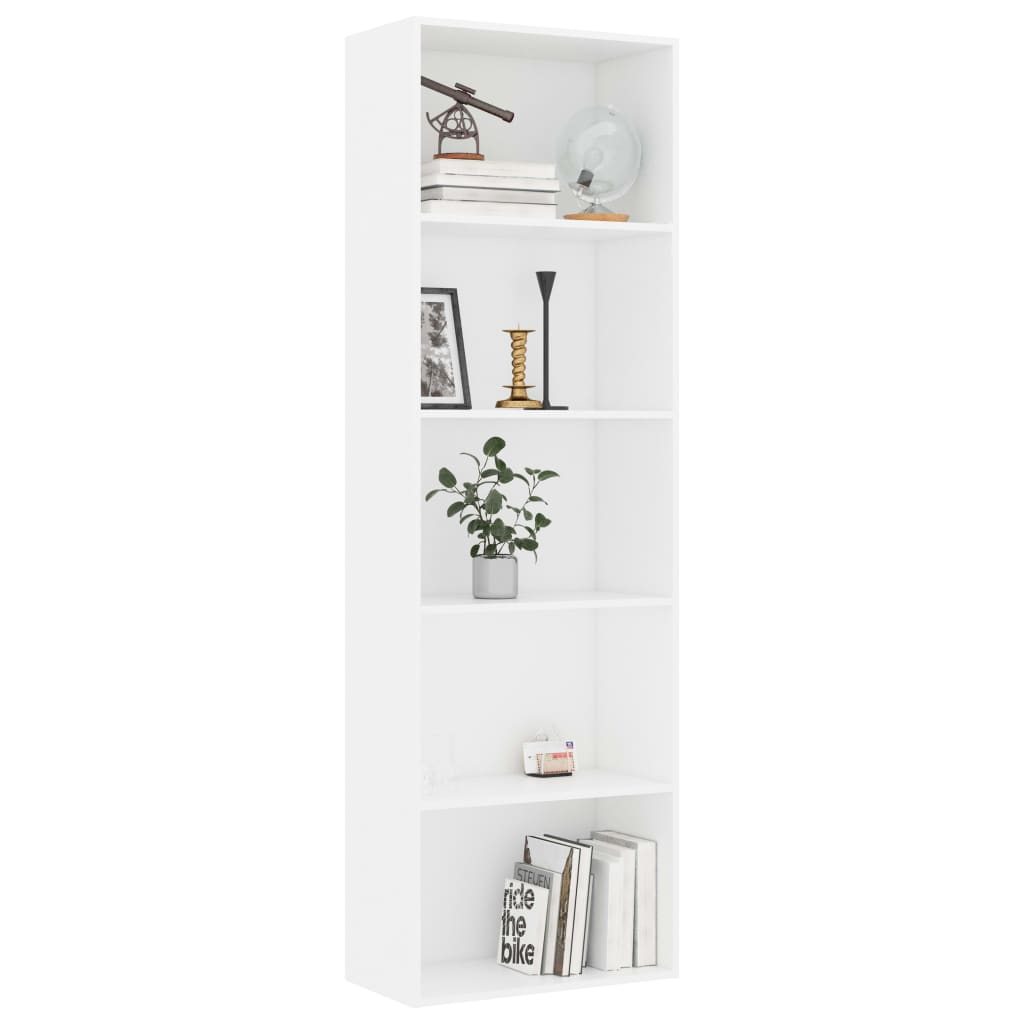 5-Tier Book Cabinet White 60x30x189 cm Chipboard 3
