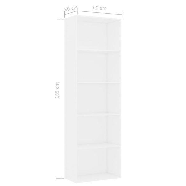 5-Tier Book Cabinet White 60x30x189 cm Chipboard 6