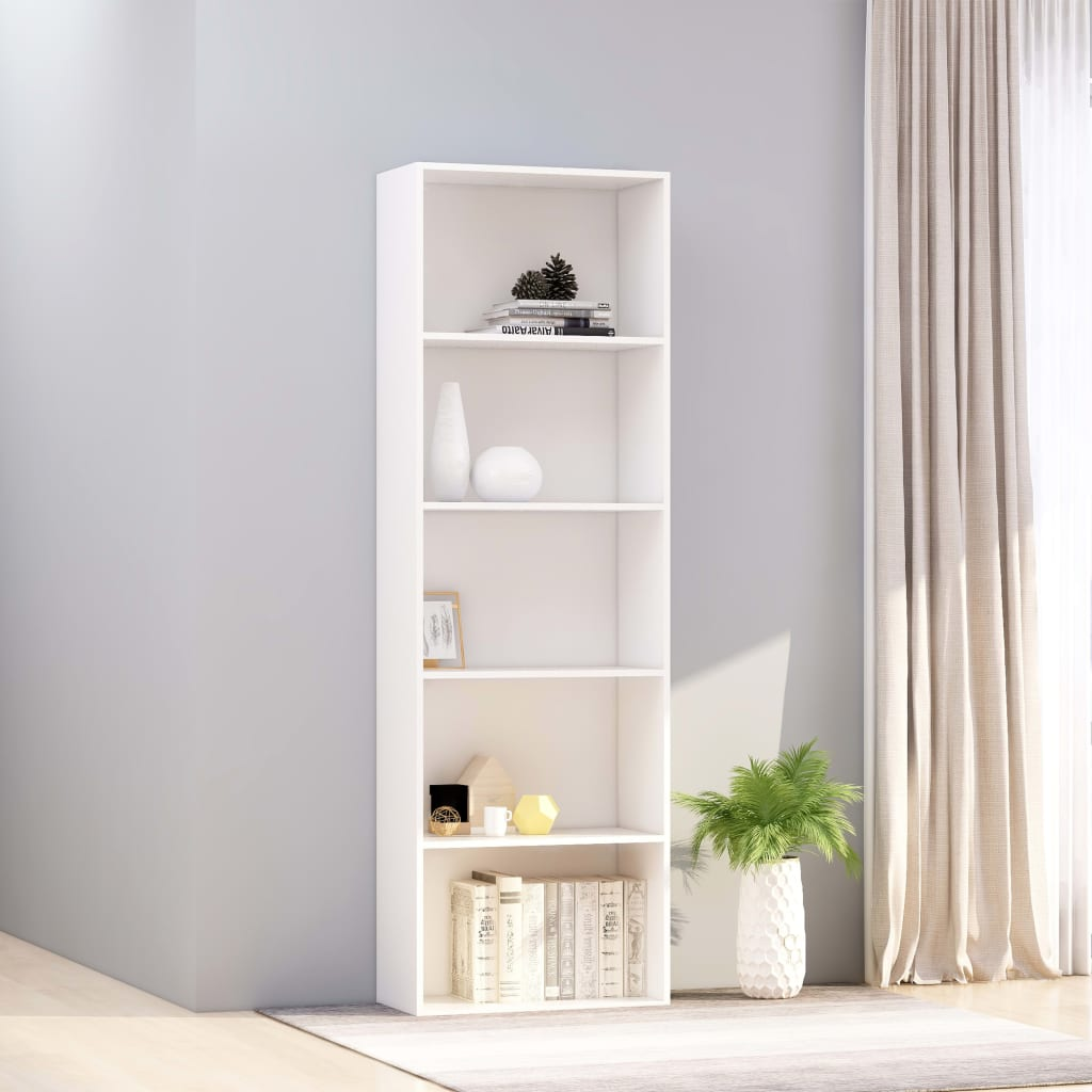 5-Tier Book Cabinet White 60x30x189 cm Chipboard 1