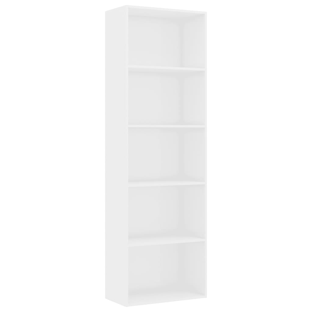 5-Tier Book Cabinet High Gloss White 60x30x189 cm Chipboard 2
