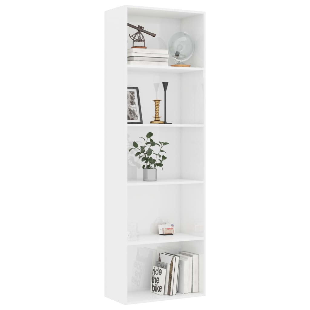 5-Tier Book Cabinet High Gloss White 60x30x189 cm Chipboard 3