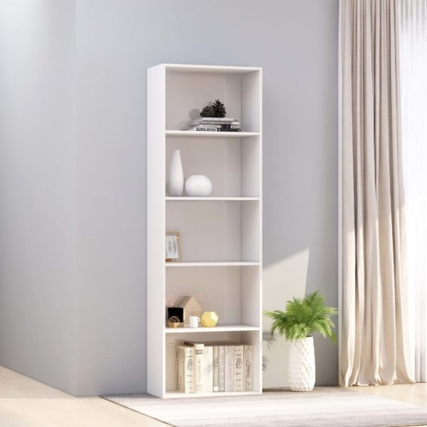 5-Tier Book Cabinet High Gloss White 60x30x189 cm Chipboard 1