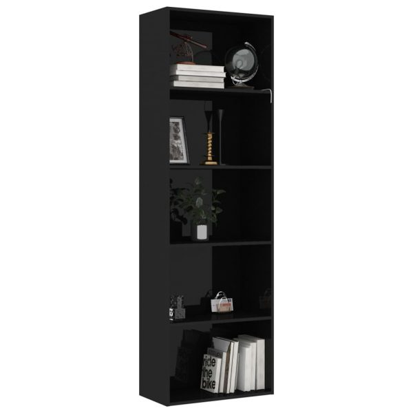 5-Tier Book Cabinet High Gloss Black 60x30x189 cm Chipboard 3